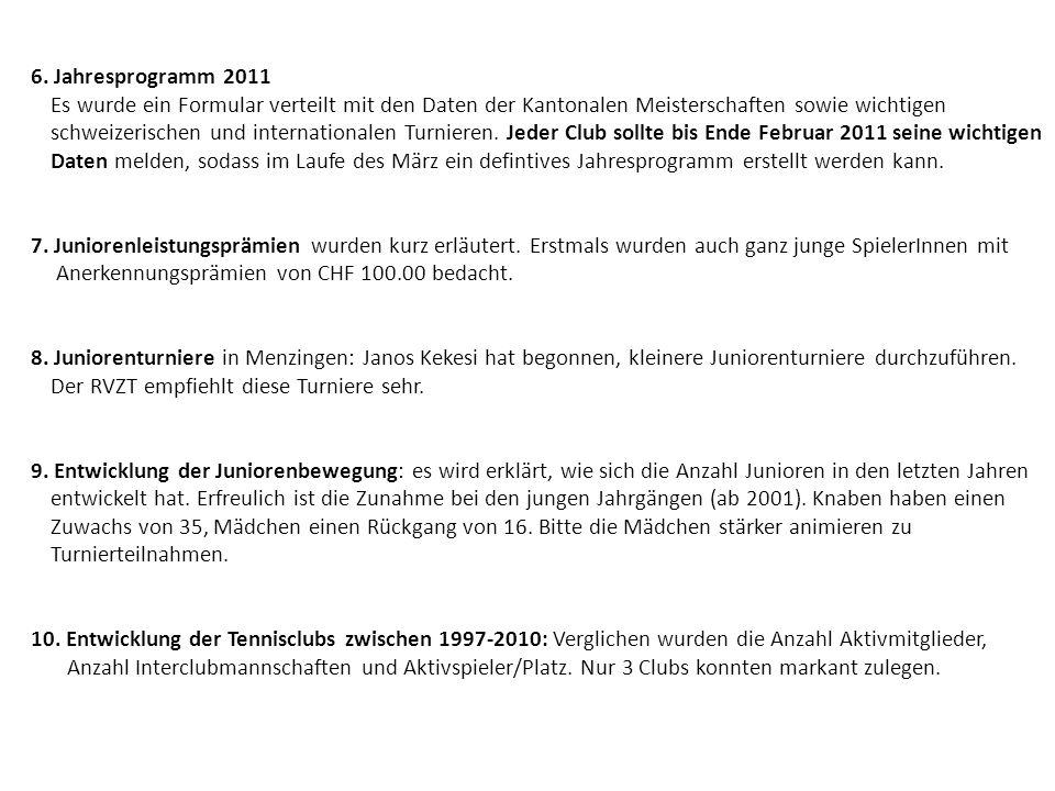 6. Jahresprogramm 2011 Es wurde ein Formular verteilt mit den Daten der Kantonalen Meisterschaften sowie wichtigen schweizerischen und internationalen