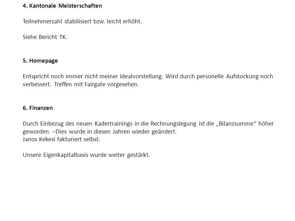 4. Kantonale Meisterschaften Teilnehmerzahl stabilisiert bzw. leicht erhöht. Siehe Bericht TK. 5. Homepage Entspricht noch immer nicht meiner Idealvor