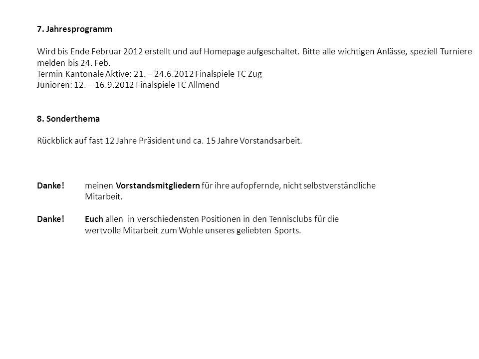7. Jahresprogramm Wird bis Ende Februar 2012 erstellt und auf Homepage aufgeschaltet. Bitte alle wichtigen Anlässe, speziell Turniere melden bis 24. F