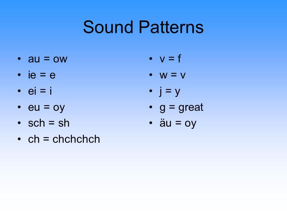 Sound Patterns Z sch st sp ie ei i au eu äu g j ch