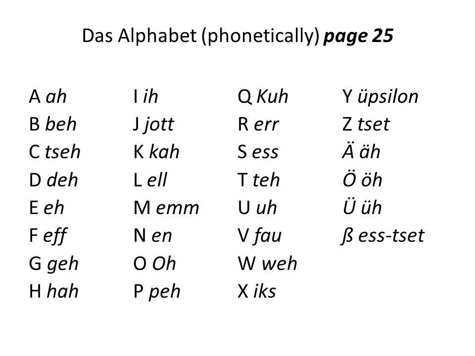 Das Alphabet (phonetically) page 25 A ah B beh C tseh D deh E eh F eff G geh H hah I ih J jott K kah L ell M emm N en O Oh P peh Q Kuh R err S ess T teh U uh V fau W weh X iks Y üpsilon Z tset Ä äh Ö öh Ü üh ß ess-tset