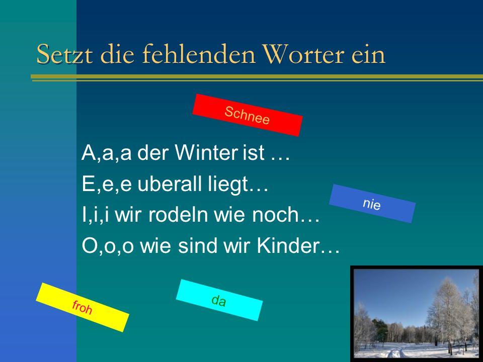 Setzt die fehlenden Worter ein A,a,a der Winter ist … E,e,e uberall liegt… I,i,i wir rodeln wie noch… O,o,o wie sind wir Kinder… Schnee nie froh da