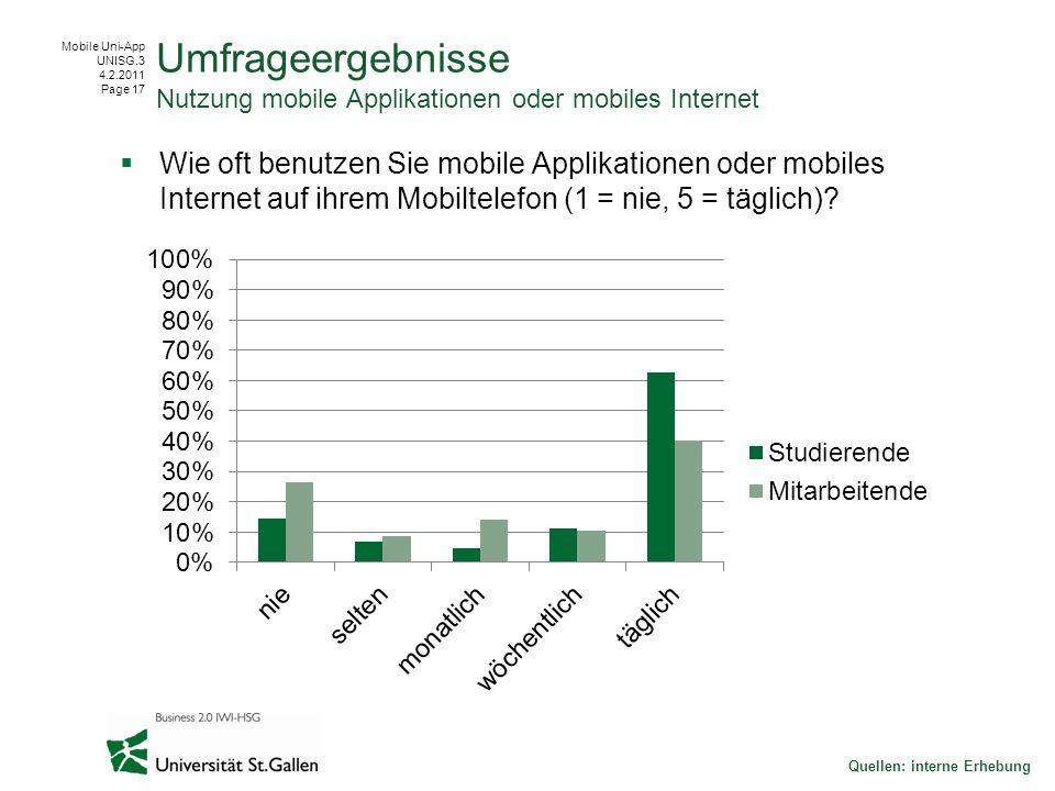 Mobile Uni-App UNISG.3 4.2.2011 Page 17 Wie oft benutzen Sie mobile Applikationen oder mobiles Internet auf ihrem Mobiltelefon (1 = nie, 5 = täglich).