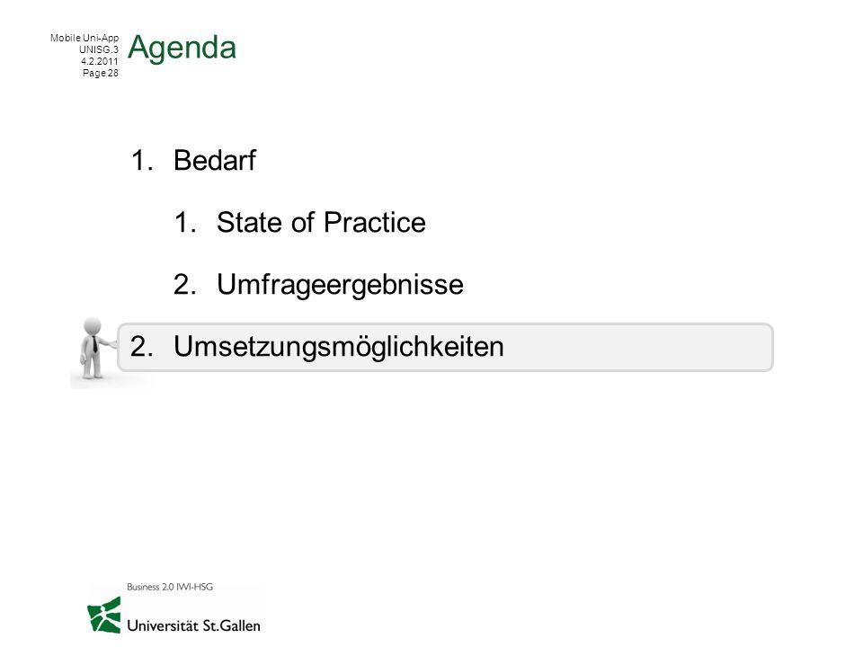 Mobile Uni-App UNISG.3 4.2.2011 Page 28 1.Bedarf 1.State of Practice 2.Umfrageergebnisse 2.Umsetzungsmöglichkeiten Agenda