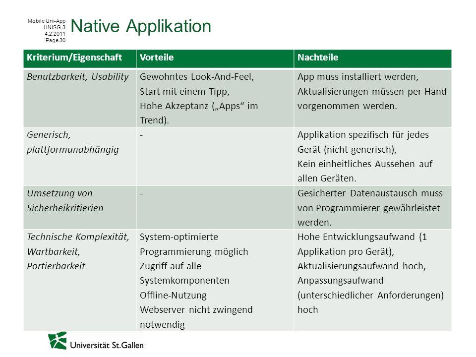 Mobile Uni-App UNISG.3 4.2.2011 Page 30 Native Applikation Kriterium/EigenschaftVorteileNachteile Benutzbarkeit, Usability Gewohntes Look-And-Feel, Start mit einem Tipp, Hohe Akzeptanz (Apps im Trend).