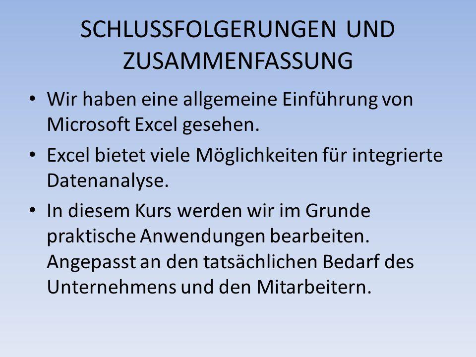 SCHLUSSFOLGERUNGEN UND ZUSAMMENFASSUNG Wir haben eine allgemeine Einführung von Microsoft Excel gesehen. Excel bietet viele Möglichkeiten für integrie