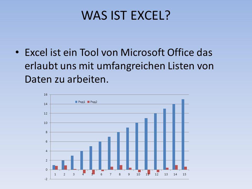 WAS IST EXCEL? Excel ist ein Tool von Microsoft Office das erlaubt uns mit umfangreichen Listen von Daten zu arbeiten.