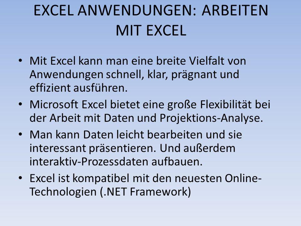EXCEL ANWENDUNGEN: ARBEITEN MIT EXCEL Mit Excel kann man eine breite Vielfalt von Anwendungen schnell, klar, prägnant und effizient ausführen. Microso