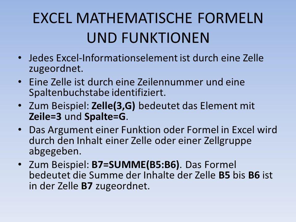 EXCEL MATHEMATISCHE FORMELN UND FUNKTIONEN Jedes Excel-Informationselement ist durch eine Zelle zugeordnet. Eine Zelle ist durch eine Zeilennummer und