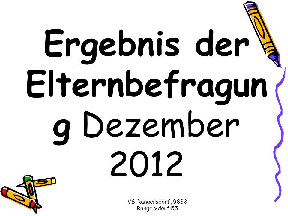 VS-Rangersdorf, 9833 Rangersdorf 55 Ergebnis der Elternbefragun g Dezember 2012