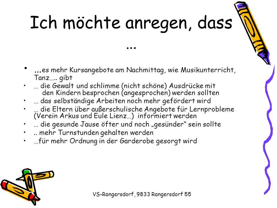 VS-Rangersdorf, 9833 Rangersdorf 55 Ich möchte anregen, dass … … es mehr Kursangebote am Nachmittag, wie Musikunterricht, Tanz…..