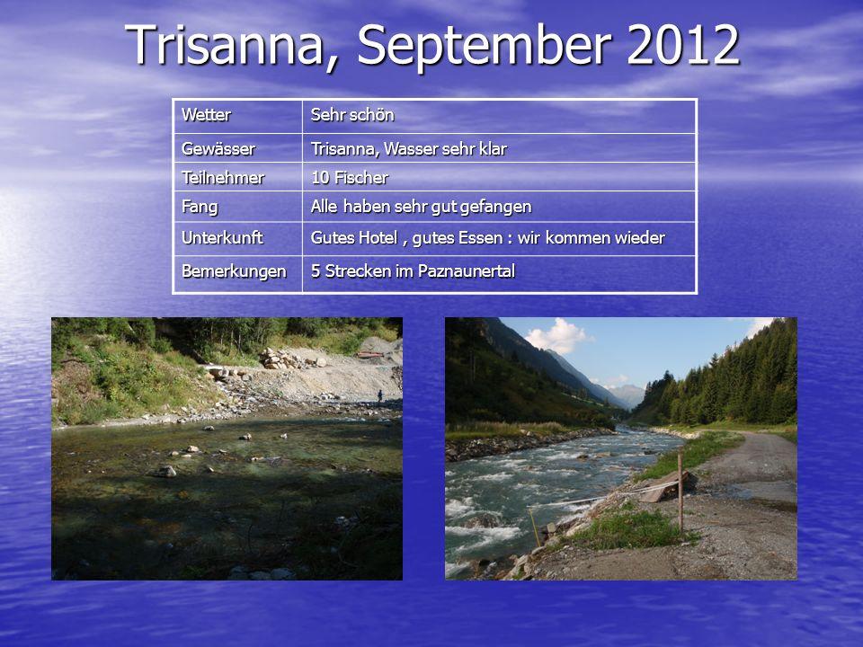 Wetter Sehr schön Gewässer Trisanna, Wasser sehr klar Teilnehmer 10 Fischer Fang Alle haben sehr gut gefangen Unterkunft Gutes Hotel, gutes Essen : wi