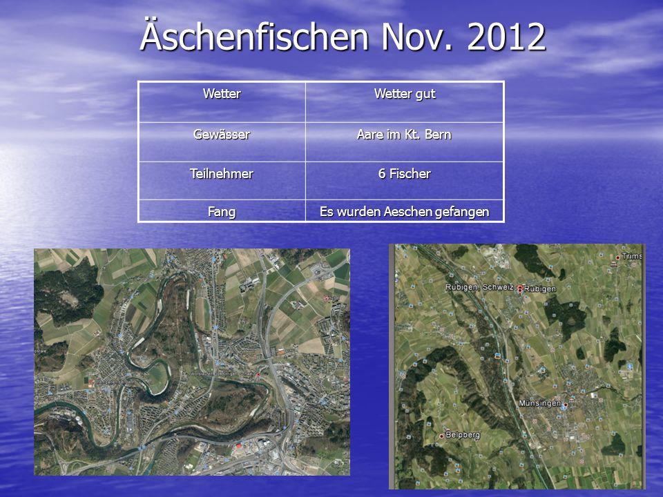 Äschenfischen Nov. 2012 Wetter Wetter gut Gewässer Aare im Kt. Bern Teilnehmer 6 Fischer Fang Es wurden Aeschen gefangen