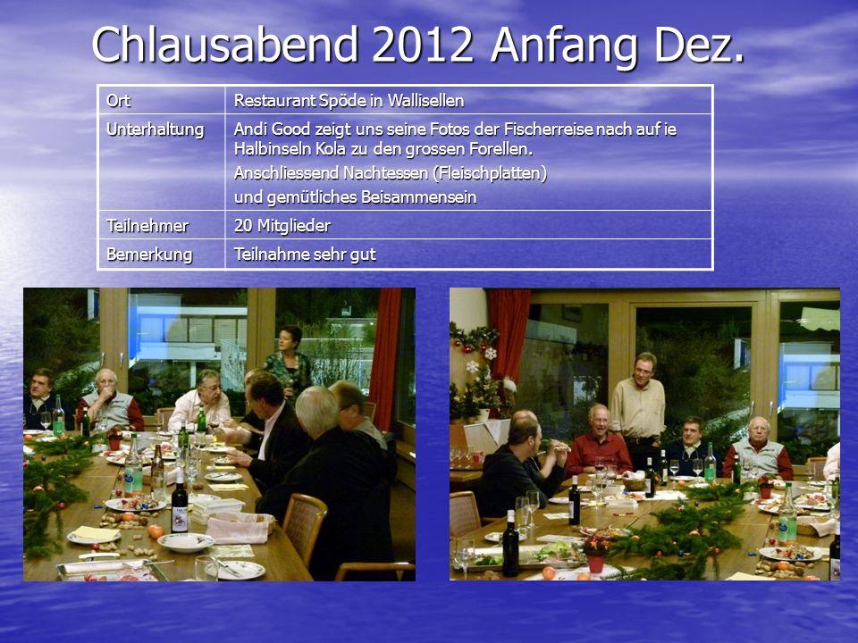 Chlausabend 2012 Anfang Dez. Ort Restaurant Spöde in Wallisellen Unterhaltung Andi Good zeigt uns seine Fotos der Fischerreise nach auf ie Halbinseln