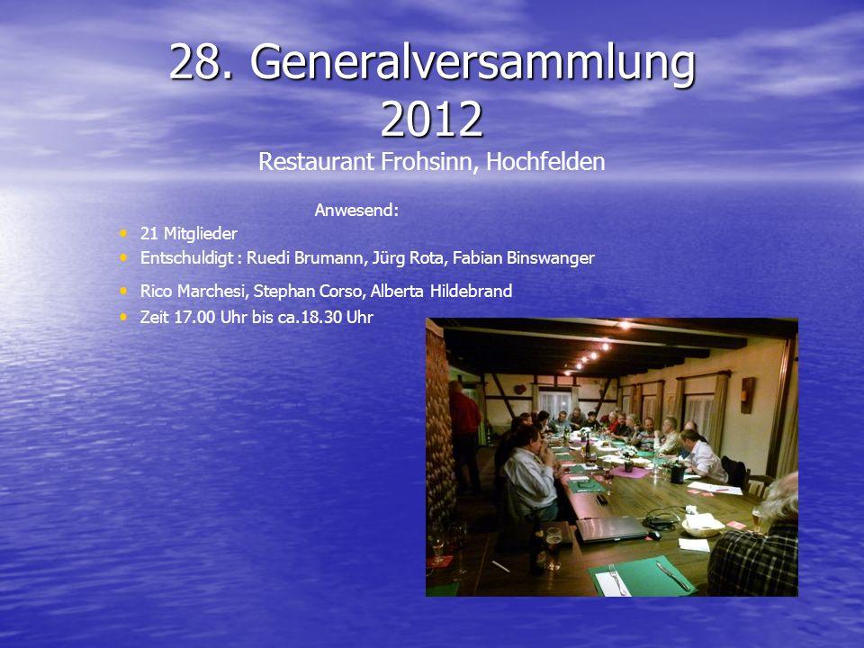 28. Generalversammlung 2012 28. Generalversammlung 2012 Restaurant Frohsinn, Hochfelden Anwesend: 21 Mitglieder Entschuldigt : Ruedi Brumann, Jürg Rot