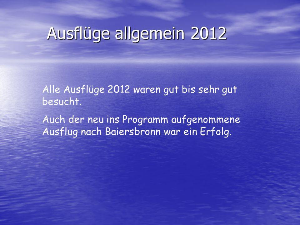 Ausflüge allgemein 2012 Alle Ausflüge 2012 waren gut bis sehr gut besucht. Auch der neu ins Programm aufgenommene Ausflug nach Baiersbronn war ein Erf