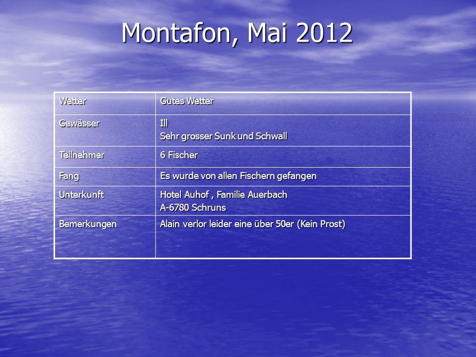 Montafon, Mai 2012 Wetter Gutes Wetter GewässerIll Sehr grosser Sunk und Schwall Teilnehmer 6 Fischer Fang Es wurde von allen Fischern gefangen Unterk