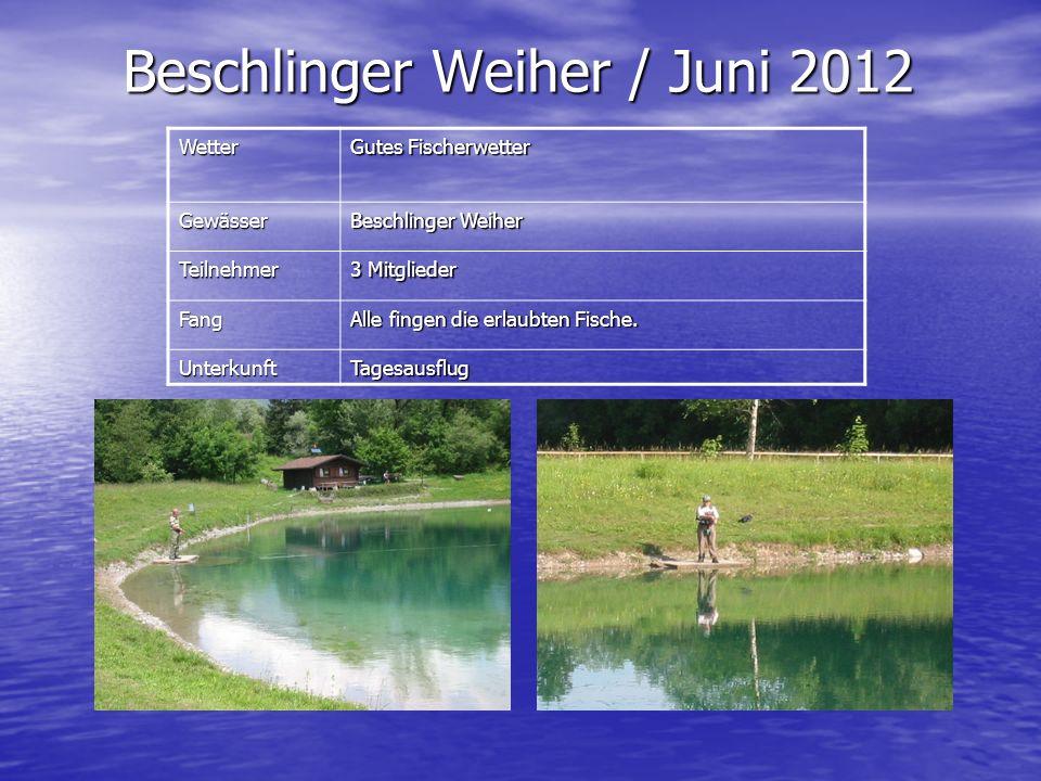 Wetter Gutes Fischerwetter Gewässer Beschlinger Weiher Teilnehmer 3 Mitglieder Fang Alle fingen die erlaubten Fische. UnterkunftTagesausflug Beschling