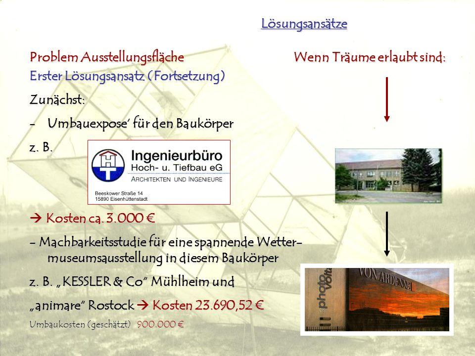 Lösungsansätze Problem Ausstellungsfläche Wenn Träume erlaubt sind: Erster Lösungsansatz (Fortsetzung) Zunächst: -Umbauexpose für den Baukörper z.