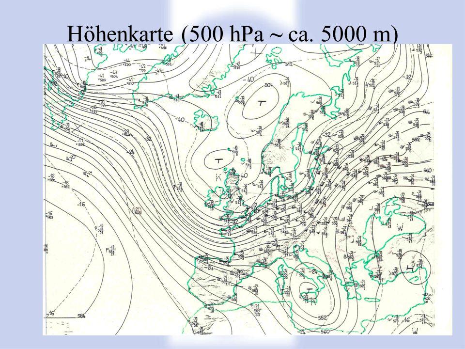 Höhenkarte (500 hPa ~ ca. 5000 m)