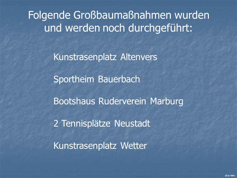 Folgende Großbaumaßnahmen wurden und werden noch durchgeführt: Kunstrasenplatz Altenvers Sportheim Bauerbach Bootshaus Ruderverein Marburg 2 Tennisplä