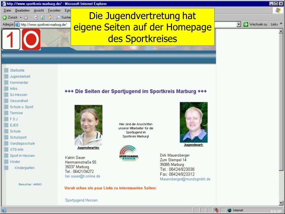 Die Jugendvertretung hat eigene Seiten auf der Homepage des Sportkreises