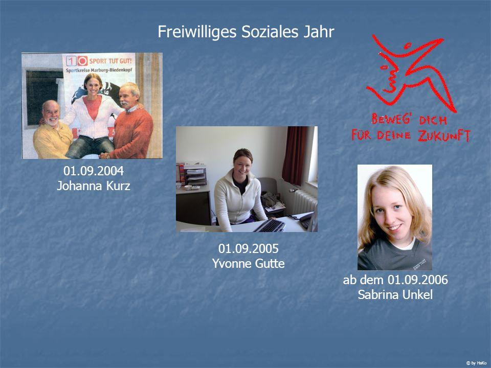 Freiwilliges Soziales Jahr 01.09.2004 Johanna Kurz 01.09.2005 Yvonne Gutte ab dem 01.09.2006 Sabrina Unkel © by HaKo
