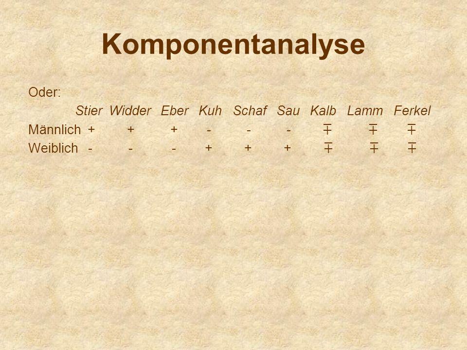Komponentanalyse Oder: Stier Widder Eber Kuh Schaf Sau Kalb Lamm Ferkel Männlich + + + - - - Weiblich - - - + + +