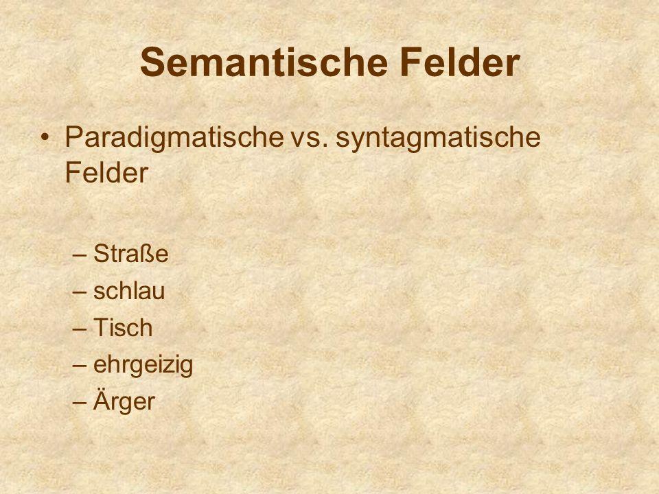 Semantische Felder Paradigmatische vs.