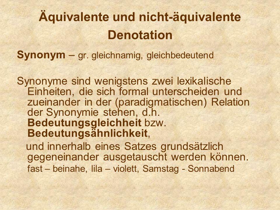 Äquivalente und nicht-äquivalente Denotation Synonym – gr.
