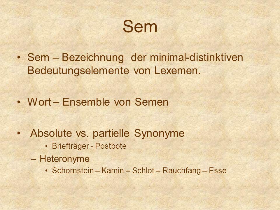 Sem Sem – Bezeichnung der minimal-distinktiven Bedeutungselemente von Lexemen.
