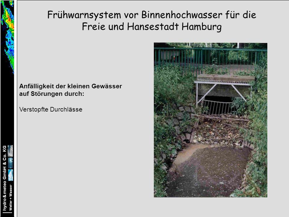 Anfälligkeit der kleinen Gewässer auf Störungen durch: Verstopfte Durchlässe Frühwarnsystem vor Binnenhochwasser für die Freie und Hansestadt Hamburg