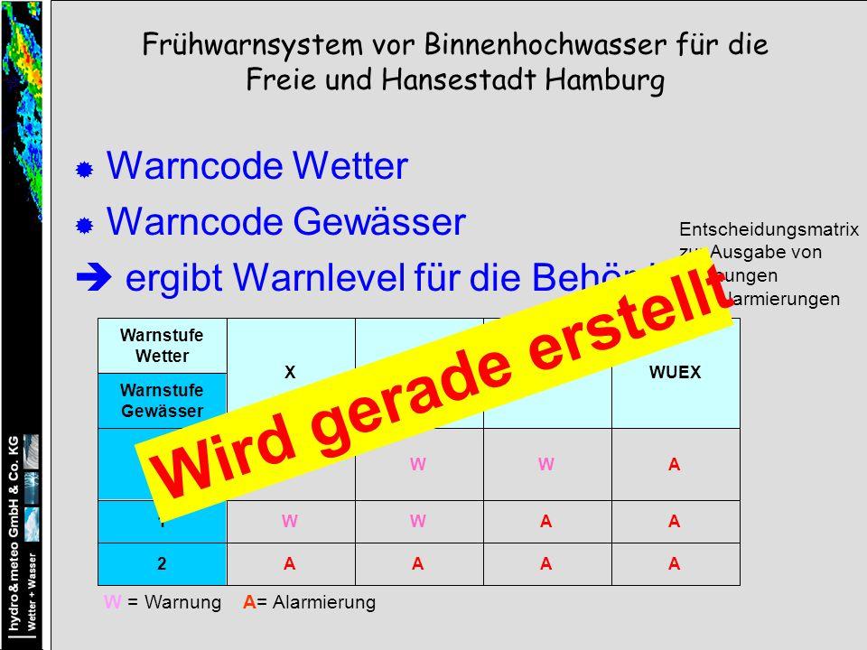 Warncode Wetter Warncode Gewässer ergibt Warnlevel für die Behörde AAAA2 AAWW1 AWW0 Warnstufe Gewässer WUEXWUWWX Warnstufe Wetter W = Warnung A= Alarmierung Entscheidungsmatrix zur Ausgabe von Warnungen und Alarmierungen Frühwarnsystem vor Binnenhochwasser für die Freie und Hansestadt Hamburg Wird gerade erstellt
