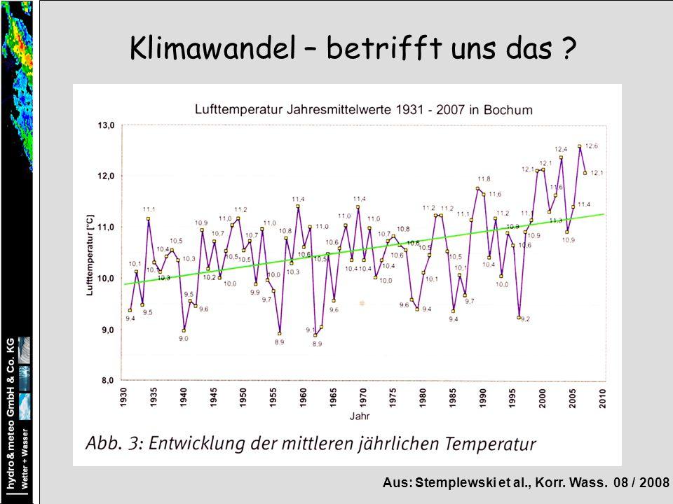 Klimawandel – betrifft uns das ? Aus: Stemplewski et al., Korr. Wass. 08 / 2008