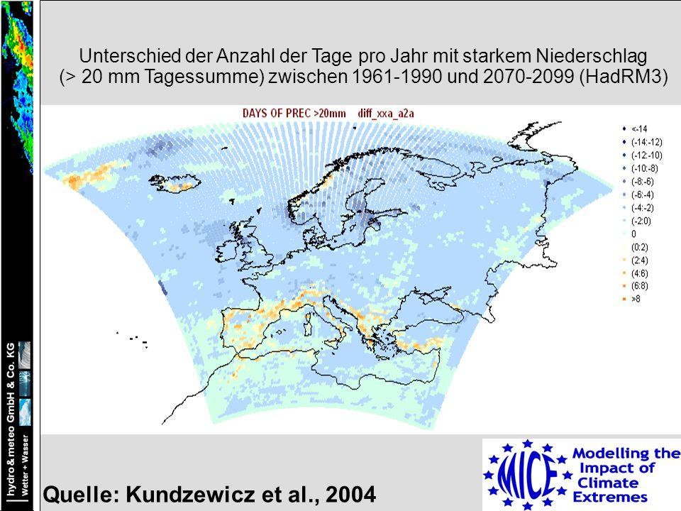 Quelle: Kundzewicz et al., 2004 Unterschied der Anzahl der Tage pro Jahr mit starkem Niederschlag (> 20 mm Tagessumme) zwischen 1961-1990 und 2070-2099 (HadRM3)