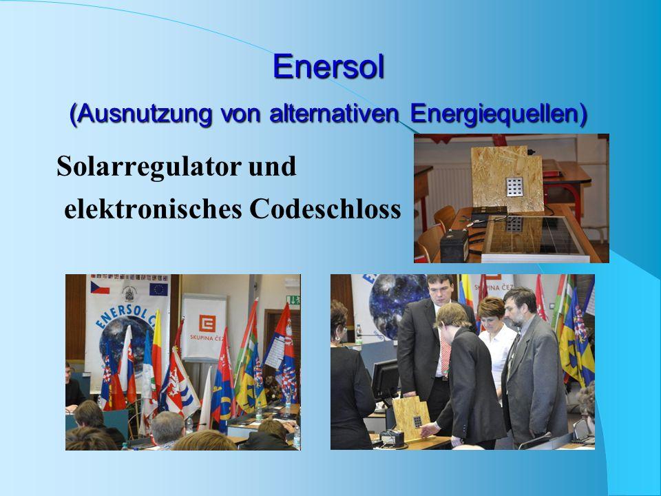 Enersol (Ausnutzung von alternativen Energiequellen) Solarregulator und elektronisches Codeschloss