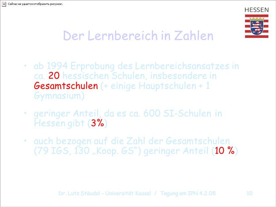 Dr. Lutz Stäudel - Universität Kassel / Tagung am IPN 4.2.0510 Der Lernbereich in Zahlen ab 1994 Erprobung des Lernbereichsansatzes in ca. 20 hessisch