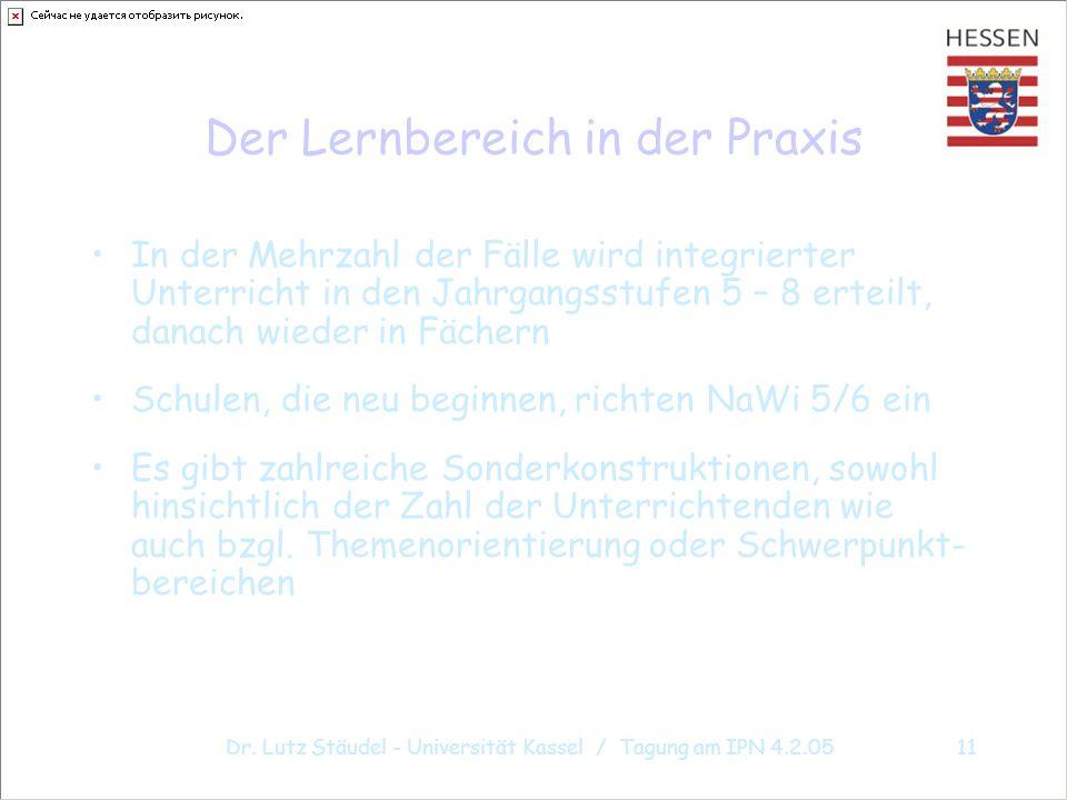 Dr. Lutz Stäudel - Universität Kassel / Tagung am IPN 4.2.0511 Der Lernbereich in der Praxis In der Mehrzahl der Fälle wird integrierter Unterricht in