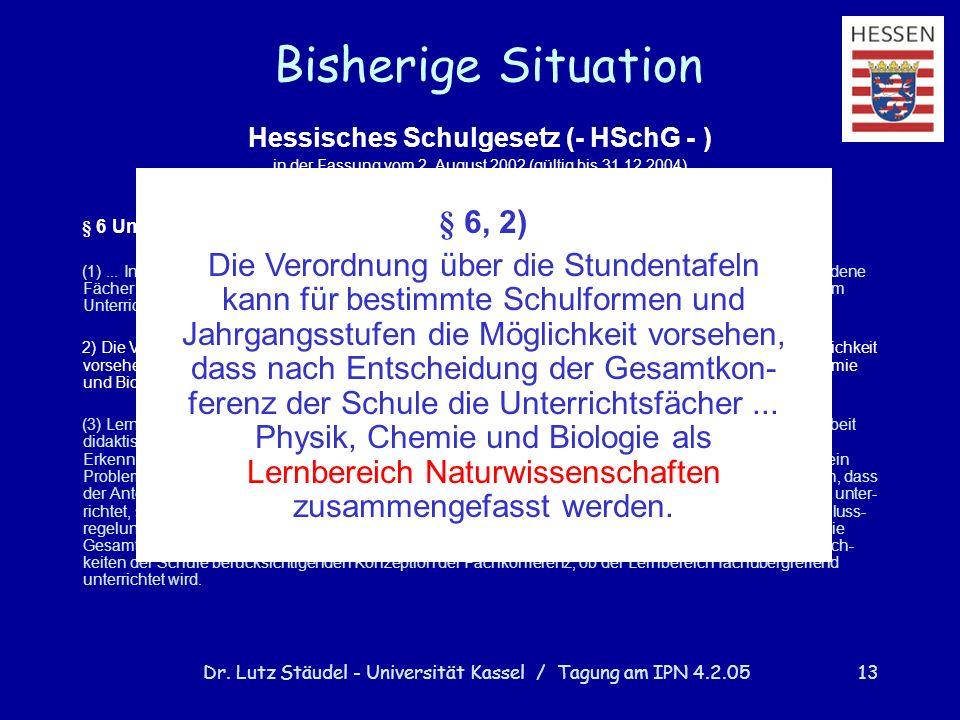 Dr. Lutz Stäudel - Universität Kassel / Tagung am IPN 4.2.0513 Bisherige Situation Hessisches Schulgesetz (- HSchG - ) in der Fassung vom 2. August 20