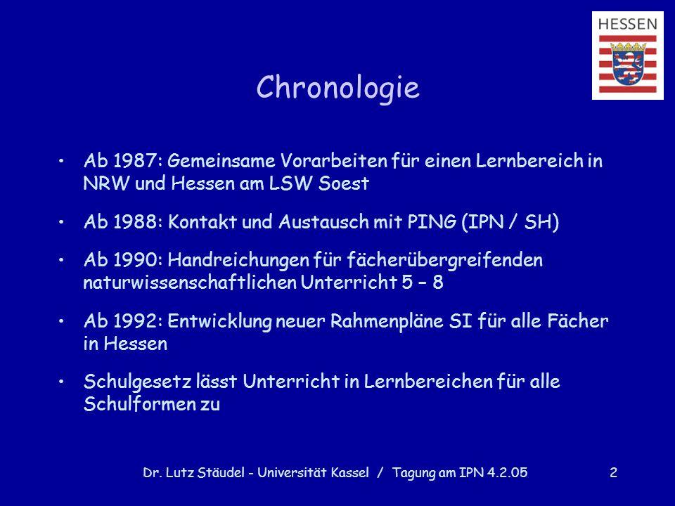 Dr. Lutz Stäudel - Universität Kassel / Tagung am IPN 4.2.052 Chronologie Ab 1987: Gemeinsame Vorarbeiten für einen Lernbereich in NRW und Hessen am L