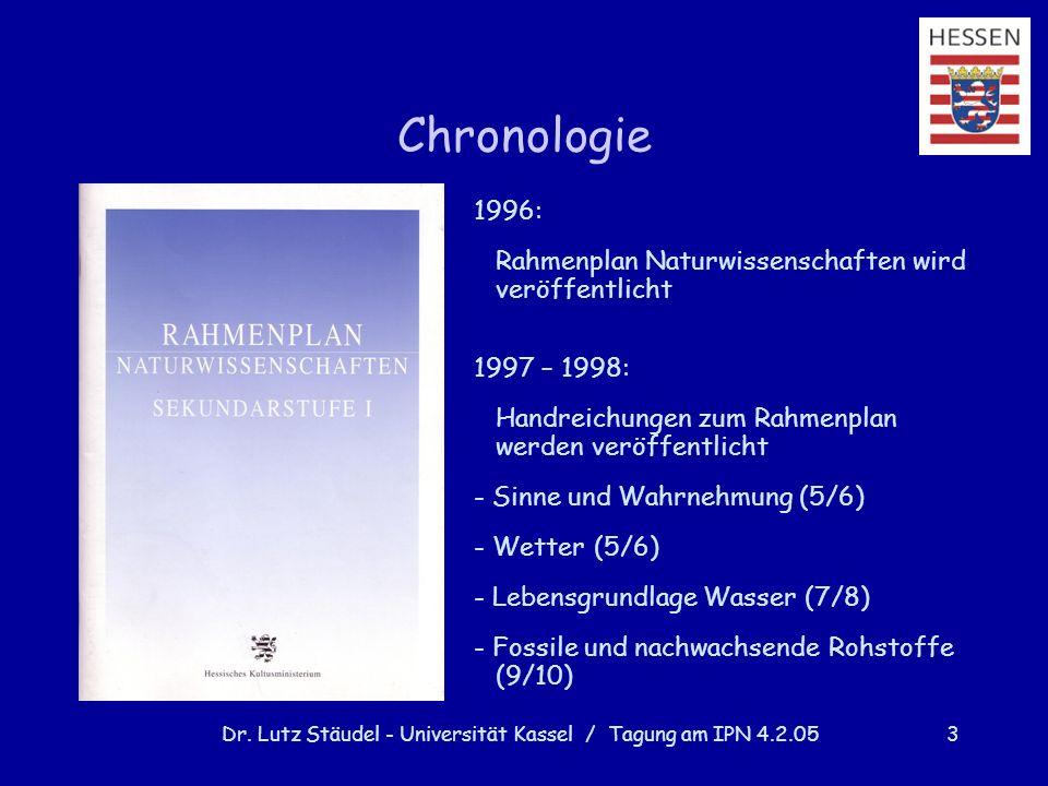 Dr. Lutz Stäudel - Universität Kassel / Tagung am IPN 4.2.053 Chronologie 1996: Rahmenplan Naturwissenschaften wird veröffentlicht 1997 – 1998: Handre