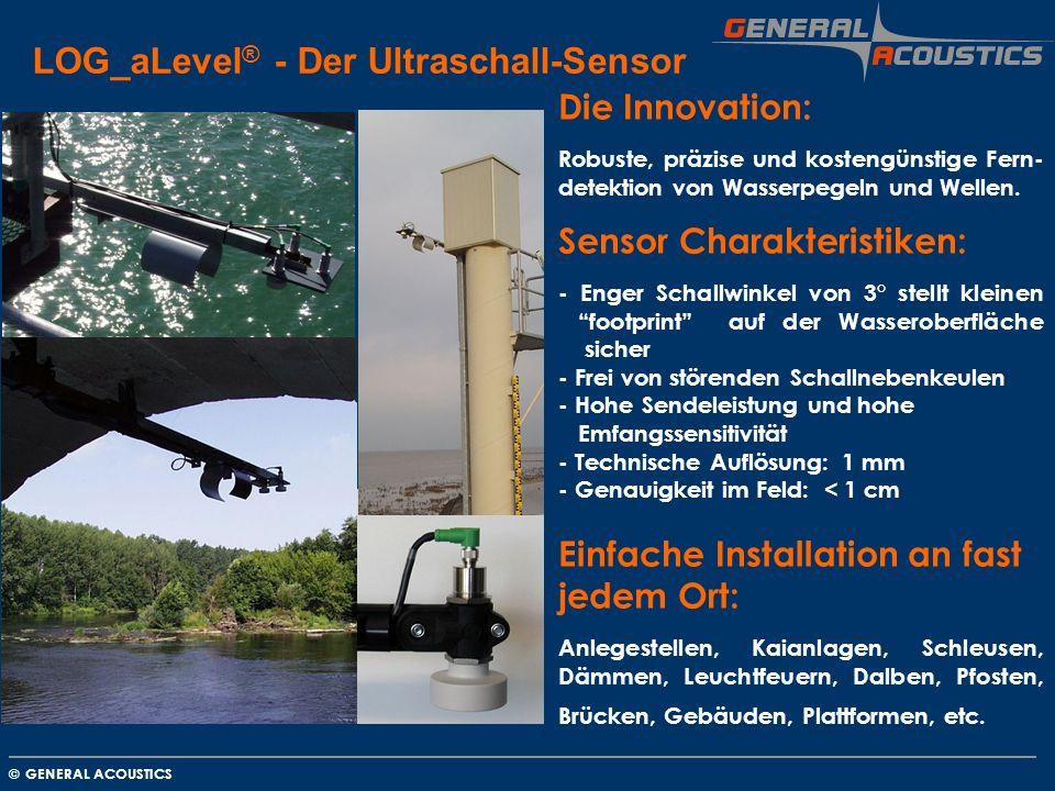 GENERAL ACOUSTICS © LOG_aLevel ® - Der Ultraschall-Sensor Die Innovation: Robuste, präzise und kostengünstige Fern- detektion von Wasserpegeln und Wel