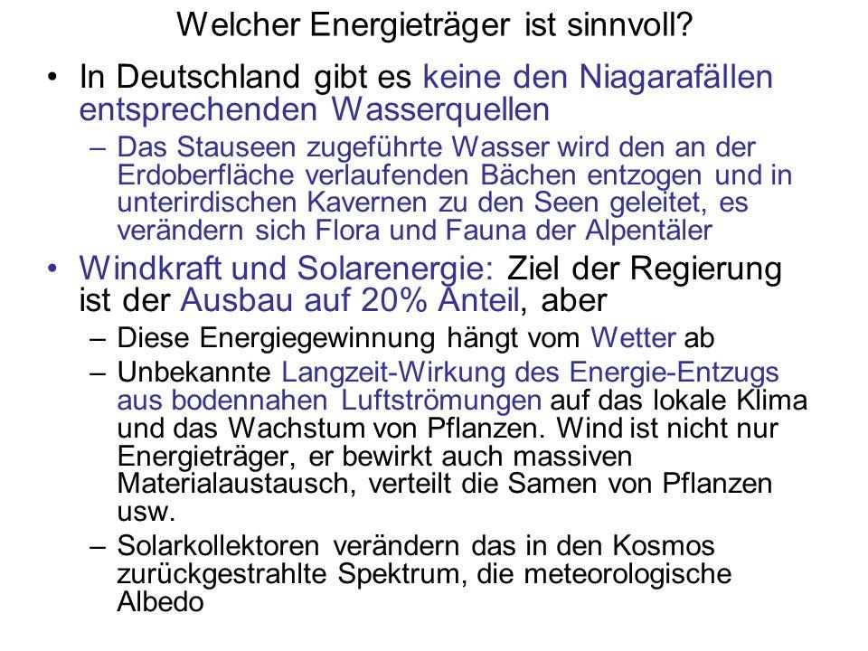 Welcher Energieträger ist sinnvoll? In Deutschland gibt es keine den Niagarafällen entsprechenden Wasserquellen –Das Stauseen zugeführte Wasser wird d