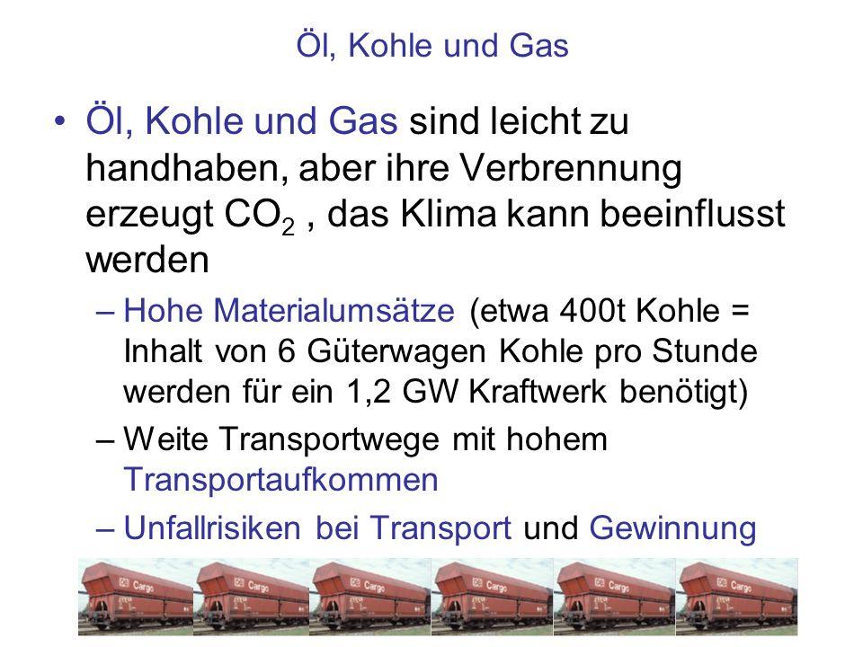 Öl, Kohle und Gas Öl, Kohle und Gas sind leicht zu handhaben, aber ihre Verbrennung erzeugt CO 2, das Klima kann beeinflusst werden –Hohe Materialumsä
