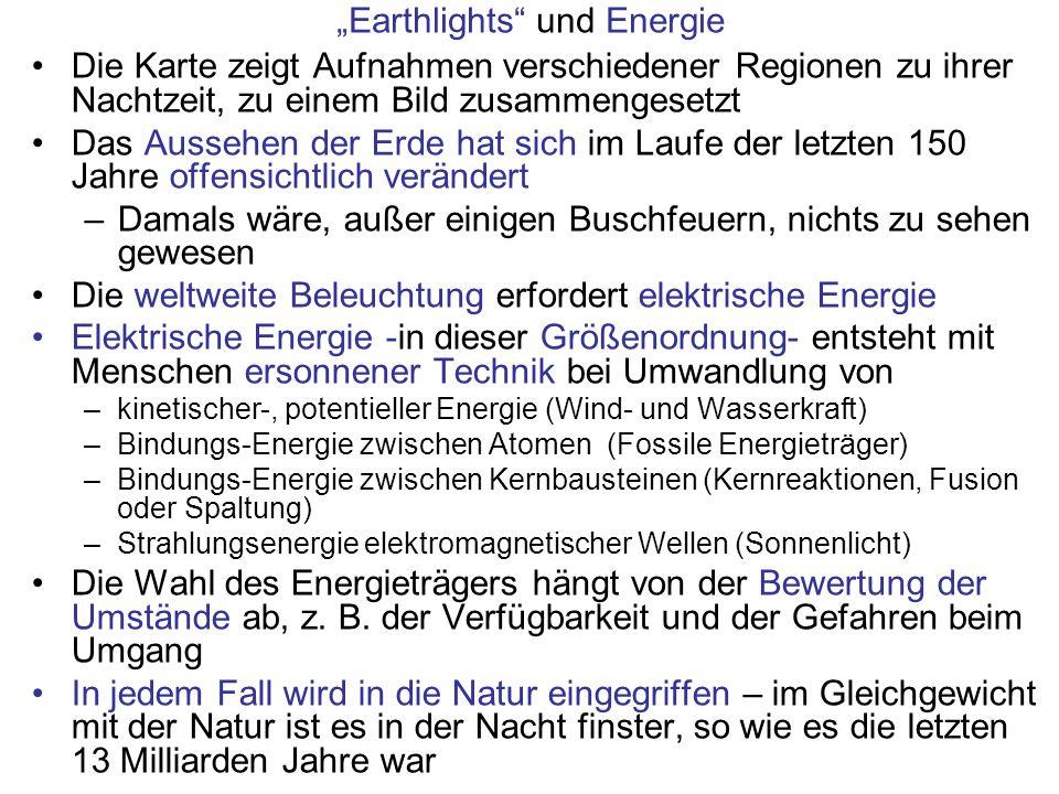 Earthlights und Energie Die Karte zeigt Aufnahmen verschiedener Regionen zu ihrer Nachtzeit, zu einem Bild zusammengesetzt Das Aussehen der Erde hat s