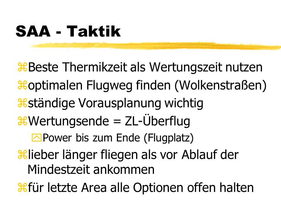 SAA - Taktik zBeste Thermikzeit als Wertungszeit nutzen zoptimalen Flugweg finden (Wolkenstraßen) zständige Vorausplanung wichtig zWertungsende = ZL-Ü