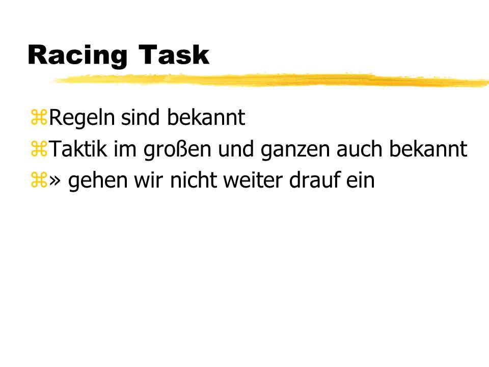 Racing Task zRegeln sind bekannt zTaktik im großen und ganzen auch bekannt z» gehen wir nicht weiter drauf ein