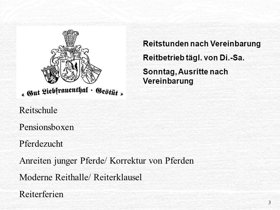 2 Praktikum als Pferdewirtin vom 01. bis 12. Februar 1999 Gut Liebfrauenthal Gestüt, Außerhalb 67575 Eich/ Rhein