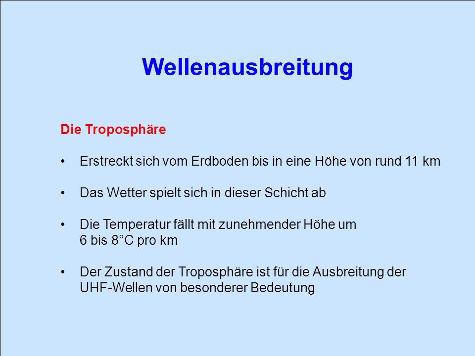 Wellenausbreitung Die Troposphäre Erstreckt sich vom Erdboden bis in eine Höhe von rund 11 km Das Wetter spielt sich in dieser Schicht ab Die Temperat