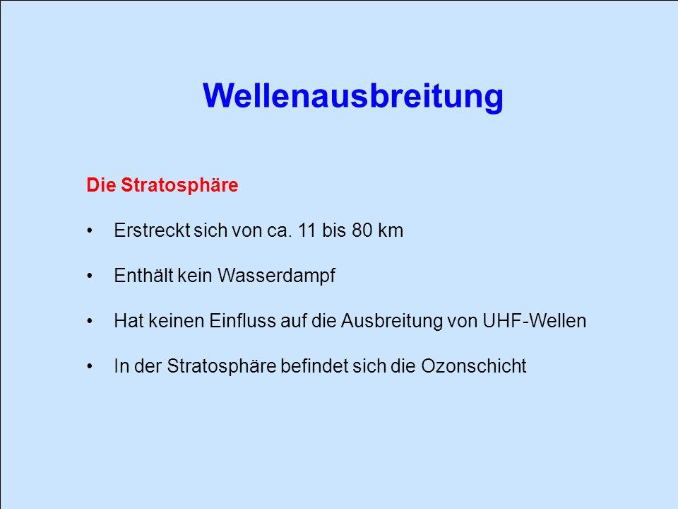 Wellenausbreitung Die Stratosphäre Erstreckt sich von ca. 11 bis 80 km Enthält kein Wasserdampf Hat keinen Einfluss auf die Ausbreitung von UHF-Wellen